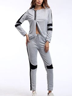 63f88925b86 Wholesale Sporty Style Stand Neck Contrast Color Tracksuit LPG111228