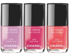 Chanel Reflets d'Été de Chanel Collection for Summer 2014 - Le Vernis / Nail Colour •615 Sweet Lilac (Lilac) (Limited Edition), •619 Pink Tonic (Fuchsia) (Limited Edition), •621 Tutti Frutti (Soft Coral)