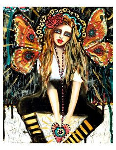 Fly Girl' fine art print of a mixed media by chloeandsofiasmom, $18.00