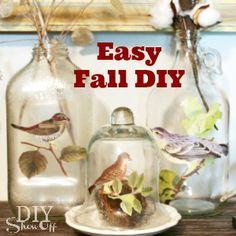 easy fall DIY with glass jugs - cute as vases! using martha stewart decoupage