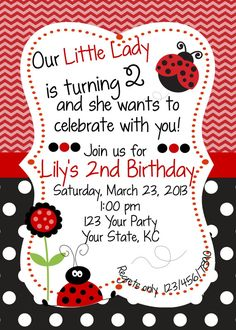 Red & Black Ladybug Birthday Invitation by WhooosHavingAParty, $10.00