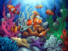 The Clowns an under the sea clown fish painting by artist David Miller