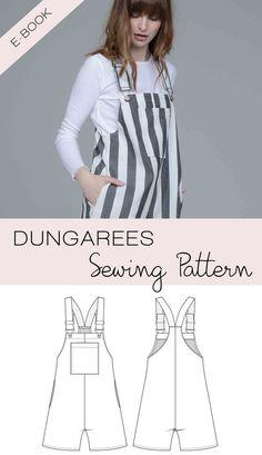 Sewing Pattern PDF Dungarees / Pinafore Dress / Bib Skirt / for Women and Girls (english) Skirt Patterns Sewing, Clothing Patterns, Sewing Patterns Free, Skirt Sewing, Pattern Sewing, Diy Clothes, Sewing Clothes, Womens Dungarees, Girls Pinafore Dress