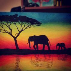 elephant+paintings | Elephant Silhouette by tylertiger