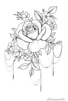 Tattoo Rose Flower Tattoo Plan verfügbar Sofort Do Mandala Rose Tattoo, Rose Flower Tattoos, Flower Tattoo Designs, Flower Tattoo Back, Floral Tattoo Design, Lace Tattoo, Tattoo Black, Tatoo Rose, Cosmos Tattoo