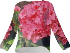 Silk blouse, Pink Hydrangeas from Print All Over Me