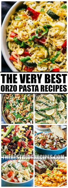 The Best Orzo Pasta Recipes are perfect for an easy lunch or a delicious and nutritious dinner! With amazing flavors, and easy instructions, these recipes will absolutely become new family favorites! Orzo Pasta Recipes, Healthy Pasta Recipes, Healthy Pastas, Lunch Recipes, Cooking Recipes, Pasta Recipes For Dinner, Vegetable Pasta Recipes, Couscous, Mascarpone