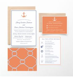 Salty Air Nautical Wedding Invitation Collection, Orange and Blue, Wedding Announcement by seahorsebendpress on Etsy