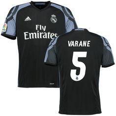 Raphael Varane Real Madrid adidas 2016/17 Third Replica Jersey - Black - $104.99