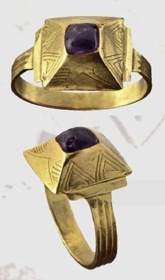A Germanic gold ring, Amethyst , 12th century A.D.