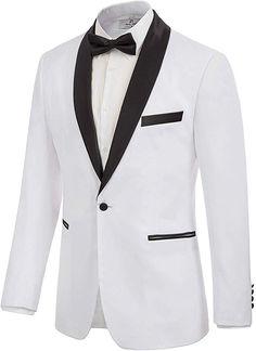 Men's Casual Slim Fit Blazer Suit Tuxedo Jacket Satin Shawl Lapel White M Prom For Guys, Prom Tuxedo, Tuxedo Jacket, Mens Suits, Blazer Suit, Fashion Brands, Shawl, Topshop, Dressing