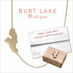 Burt Lake, MI necklace by Kerry Gilligan Available in sterling silver or 14k yellow gold