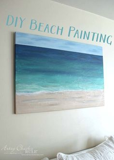 DIY Canvas Painting Ideas - DIY Beach Painting - Cool and Easy Wall Art Ideas You Can Make On A Budget - Creative Arts and Crafts Ideas for Adults and Teens - Awesome Art for Living Room Bedroom Dorm and Apartment Decorating Simple Acrylic Paintings, Acrylic Painting Tutorials, Easy Paintings, Diy Painting, Painting Canvas, Faux Painting, Sunset Acrylic Painting, Acrylic Painting For Beginners Step By Step, Painting Bedrooms