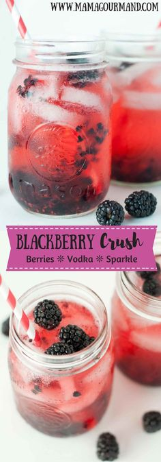 Blackberry Crush cocktail recipe combines vodka and fresh berries in a sparkling, slightly sweet and refreshing drink. www.mamagourmand.com