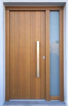 New wooden main door design architecture ideas Wooden Front Doors, Modern Front Door, The Doors, Glass Front Door, Sliding Glass Door, Wood Doors, Panel Doors, Front Entry, Wooden Interior Doors