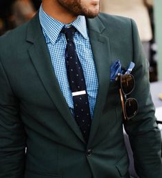 bold but classic // menswear, men style, fashion, suit, green, tie, sunglasses #sponsored