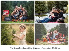 Christmas Tree Farm Mini Sessions will take place on 11/19/16 at Lee's Trees in Lily Lake, Illinois. (Just west of St. Charles.)Session fee includes:15 minute session (immediate family only)7 hi-res digital files with print rights*1 canvas photo ornament*Additional hi-res digital files and prints will be available for purchase.Please note that this session fee is non-refundable. If you need to cancel, you can sell your slot to someone else.Disclaimer: Photos in flyer are not my work. They…