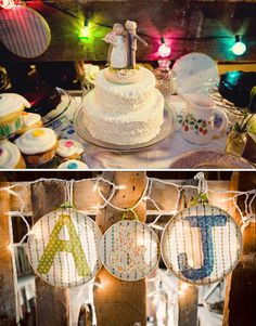 cake set-up, with mixed vintage dish-ware, and embroidered signage
