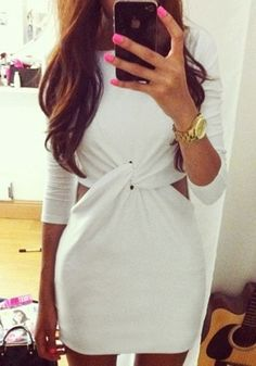 White Knot Front Dress- Feature Cut Out Sections on the Waist sides