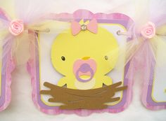 baby chick baby shower banner baby shower by NancysBannerBoutique,