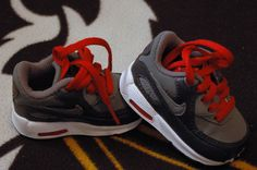 Baby Boy 2 C 2c Children Infant Shoes NIKE air Max NWOB Red Gray ADORABLE New !