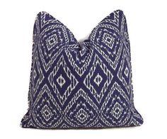 Blue Pillow Blue and White Ikat Pillow Cover-Robert Allen