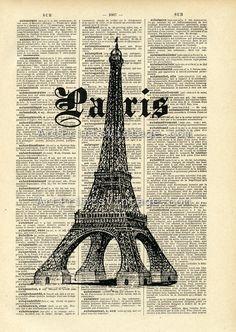 Paris Print on Vintage Dictionary Page postal paris eiffel diario carta Paris France, Altered Books Pages, Papel Vintage, Magazine Deco, Paris Ville, I Love Paris, Paris Eiffel Tower, Paris Theme, Vintage Paris