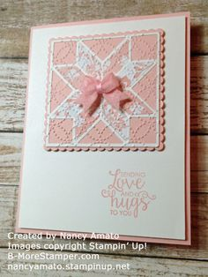 handmade greeting card featuring die cut quilt block and embossing folder texture from Stampin' Up! ... pink and white ... perfect bow ... a delight!