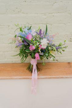 Bouquet Flowers Bride Bridal Pastel Pink Blue Rubbon Summer Pretty Light English Country Garden Wedding http://kerriemitchell.co.uk/