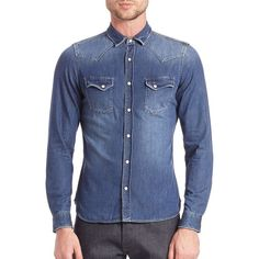 The Kooples Denim Casual Button Down Shirt (905 PEN) ❤ liked on Polyvore featuring men's fashion, men's clothing, men's shirts, men's casual shirts, apparel & accessories, blue, mens denim button down shirt, mens casual button down shirts, mens long sleeve button up shirts and mens pearl snap shirts