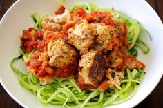 """Zucchini Spaghetti and Beanballs - The Aloha Files. I had one of those """"this-is-so-amazing-why-have-I-never-tried-this-before!"""" moments when making this dish. I'd always heard of people using zucchini as noodles, but I didn't think it would be that great. Ha! I was WRONG! Its AMAZING! Paired with a delicious marinara beanball - welcome to the new Spaghetti & Meatlessballs! #Vegan"""