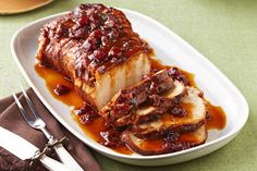 Slow-Cooker Cranberry-Orange Pork Roast – Cranberry sauce and the juice and zest of an orange, work their tasty magic in the slow-cooker so you can come home to this sweet and tart roast pork loin recipe. Crock Pot Slow Cooker, Crock Pot Cooking, Slow Cooker Recipes, Crockpot Recipes, Cooking Recipes, Healthy Recipes, Game Recipes, What's Cooking, Healthy Food