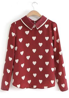 Wine Red Lapel Long Sleeve Hearts Print Blouse - Sheinside.com