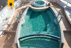 A round up of incredibly inviting, luxurious and amazing yacht pools. Superyachts outfitted with custom spas and swimming pools to die for. Luxury Yacht Interior, Boating Holidays, Boat Insurance, Deck Boat, Beach Bonfire, Below Deck, Yacht Design, Motor Yacht, Queen