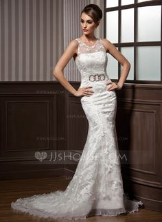 Trumpet/Mermaid Scoop Neck Court Train Organza Satin Lace Wedding Dress With Ruffle Beading Bow(s) (002011599)