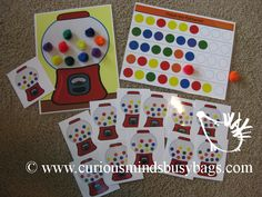 Gumball patterns is a problem solving busy bag with 2 activities.  You get one double-sided page (both sides shown here)  Kids draw a card, and re-create the image by placing the correct color gumball in the correct spot on the machine.  You get 6 double-sided cards professionally printed on card stock and laminated for a total of 12 different patterns. Side 2.  You get some patterns with blanks at the end.  Fill in the blanks to complete the patterns.  Make up your own patterns!