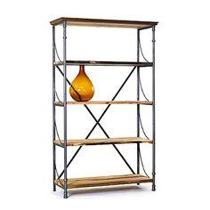 vintage industrial factory metal wood bookcase bookshelf