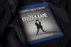 A blu-ray version of Citizen Kane on a chalk stripe fabric.