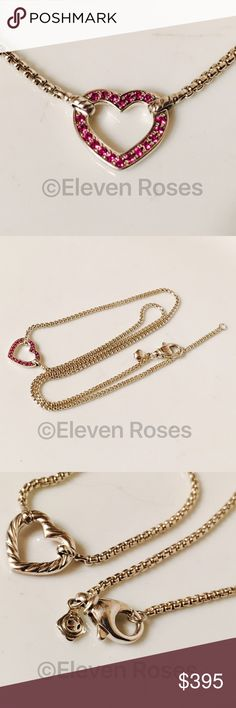 """David Yurman Pink Sapphire Heart Station Necklace David Yurman Valentine Pink Sapphire Reversible Heart Station Necklace - From The Valentine Hearts Collection - 925 Sterling Silver & Channel-set Pave Pink Sapphires - Lobster Claw Clasp - Measures Approx 18"""" Long David Yurman Jewelry Necklaces"""