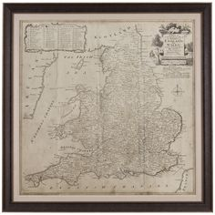 Bassett Mirror Belgian Modern Road Map of England and Wales Art