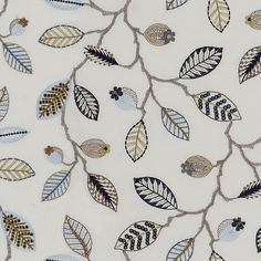 Amore by Fibre Naturelle - Curtain Fabric Store Custom Curtains, Lined Curtains, Curtains With Blinds, Curtain Material, Curtain Fabric, Embroidered Leaves, Made To Measure Curtains, Fabric Birds, Craft Projects For Kids