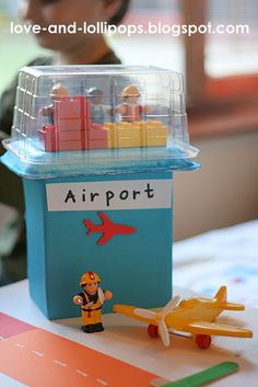 I've had this idea for the longest time to make Little One an Airport. (I actually saw an amazing wooden toy one, but the price left me g. Transportation Activities, Eyfs Activities, Activities For Kids, Car Racing For Kids, Air Force Birthday, Welcome Home Parties, Block Area, Planes Party, Lego