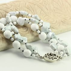 Quarry Blue Bracelet White Faceted Beads by AbacusBeadCreations, $42.00