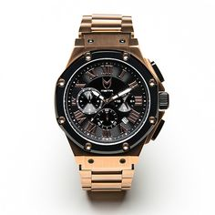 MSTR Watches grows up with its signature Ambassador watch and its new Roman numeral dial face indicators. This luxurious watch is designed in the bold rose gold and black combination, with rose gold u