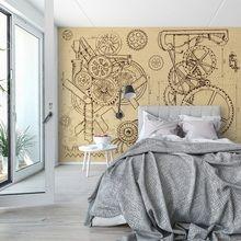 Retro mechanisms a Wall Murals, Living Room, Retro, Wallpaper Murals, Murals, Wall Prints, Mural Painting, Home Living Room, Drawing Room