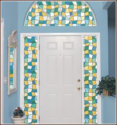 Mirage Stained Glass Design - Shades of blue, green, gold, frost.
