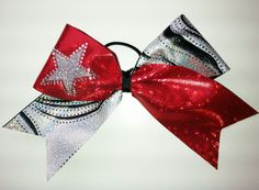 Red Hologram & Silver Swirl Cheer Bow
