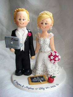 Personalised bride and groom wedding cake topper-Orders for  15th  October 2012 onwards - Fully booked through up till September 2012.. $150.00, via Etsy.