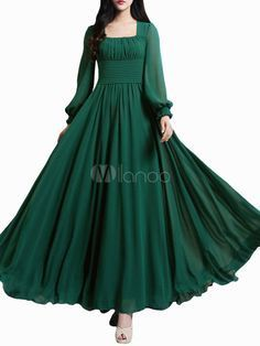f26d11b8e0 Beautiful Dark Green Square Neck Pleated Chiffon Maxi Dress for Woman -  Milanoo.com Maxi