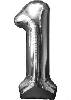 Balon foliowy CYFRA 1 srebrny (33cm x 86cm)